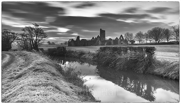 Fine art monochrome of a frosty morning at kilcrea friary, co. cork, ireland.