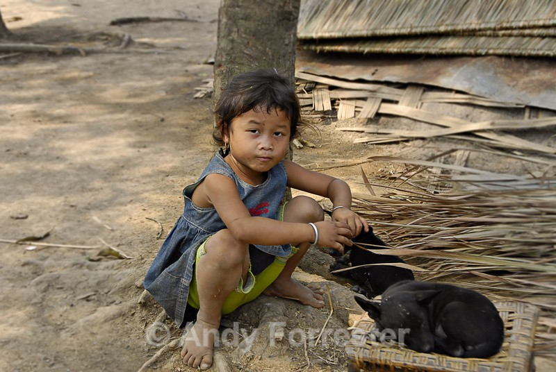 Child and puppies - South East Asia 2010