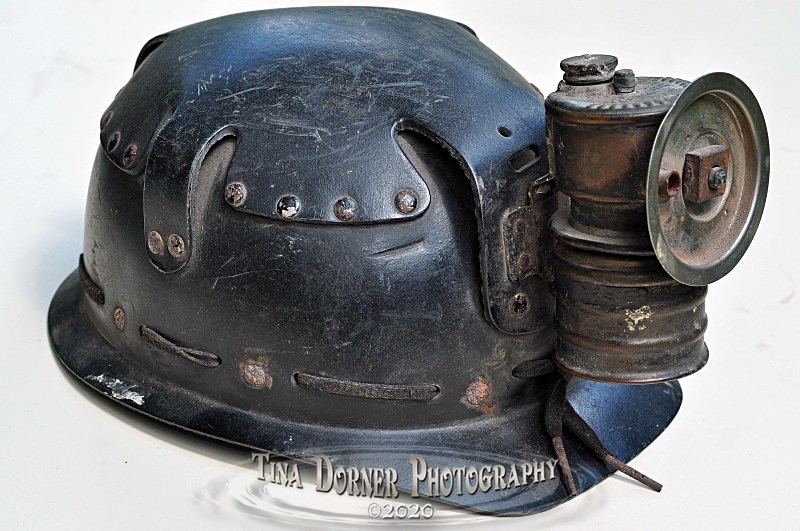 Cardboard Miners Helmet with Carbide Lamp.  from 'Commercial' Portfolio by Forest of Dean & Wye Valley Photographer Tina Dorner