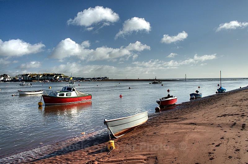 TS05 Boats at Shaldon looking towards Teignmouth - Greetings Cards Teignmouth and Shaldon