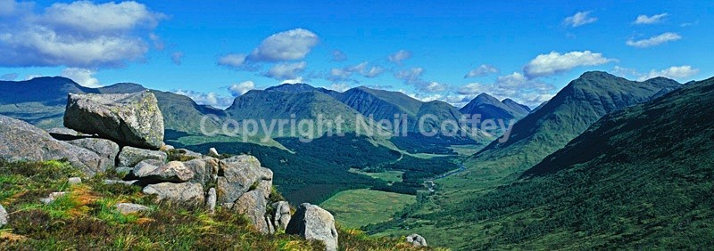 Glen Etive from Ben Starav, Highland - Panoramic format