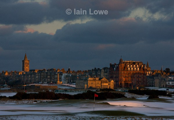 The Old Course 15th and town - Snow on The Old Course 2013