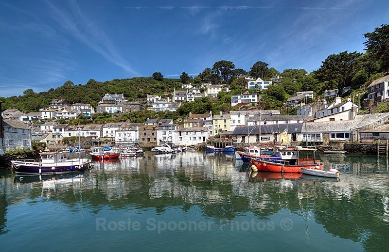 PO12 Polperro Harbour Reflections - Greetings Cards Polperro