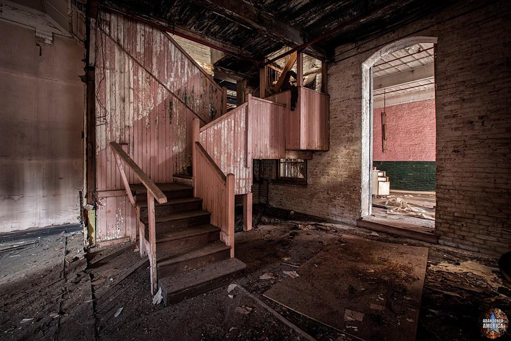 Simon Silk Mill, Easton PA: Pink Staircase | Abandoned America