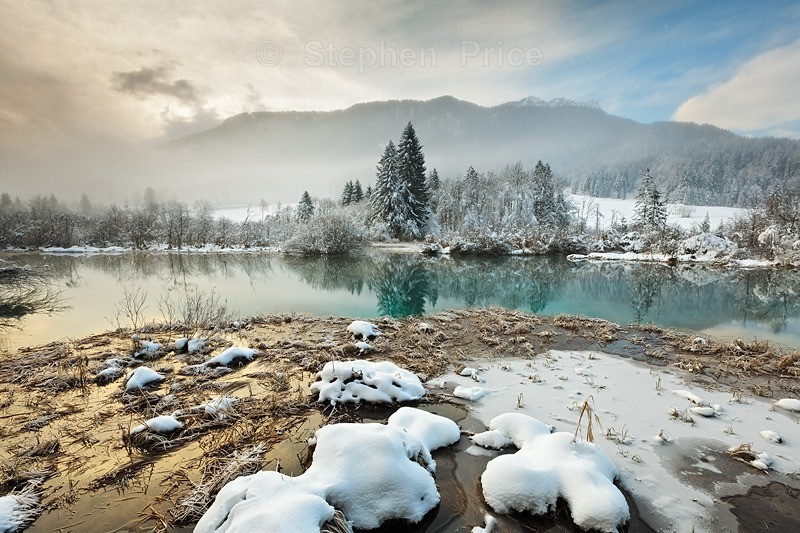 Slovenia Winter Ice Snow | Frozen River Bank Photography