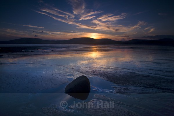 Sunset Reflected In Sand On Waterville Beach Ballinskelligs Bay