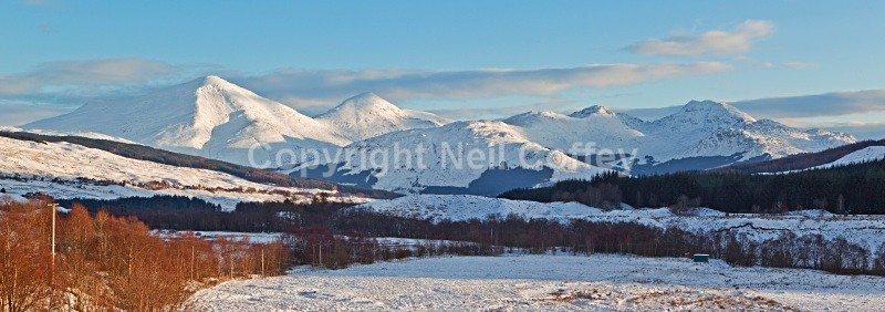 The Crianlarich Hills from Strath Fillan, Stirlingshire - Panoramic format