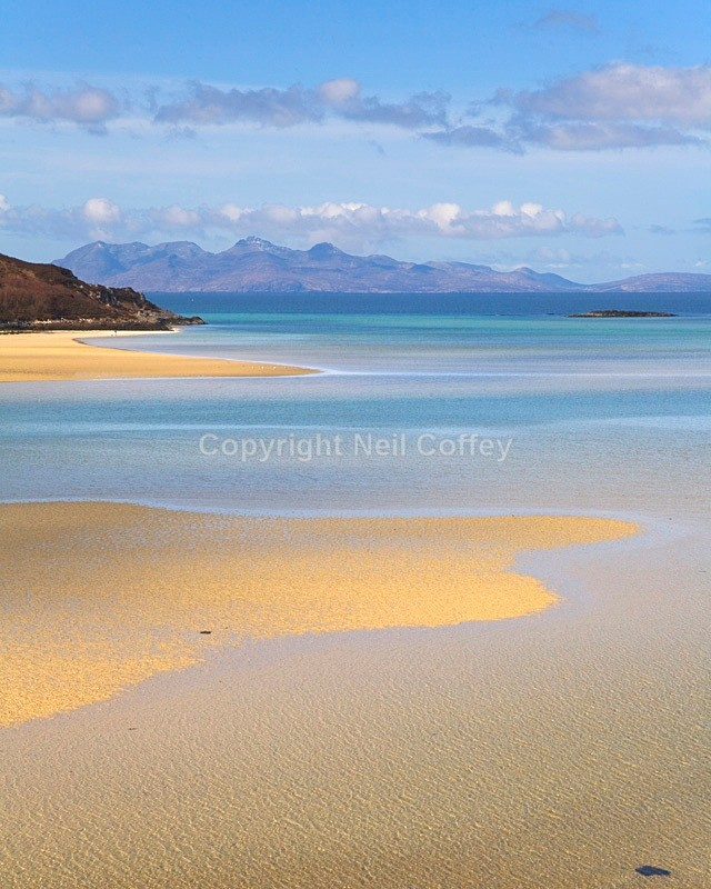 Isle Of Rum from Morar Bay, Highland - Portrait format