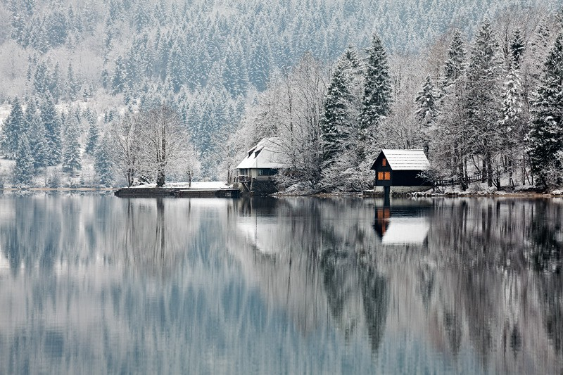 Winter Boathouse Lake Bohinj | Slovenia Snow Holiday