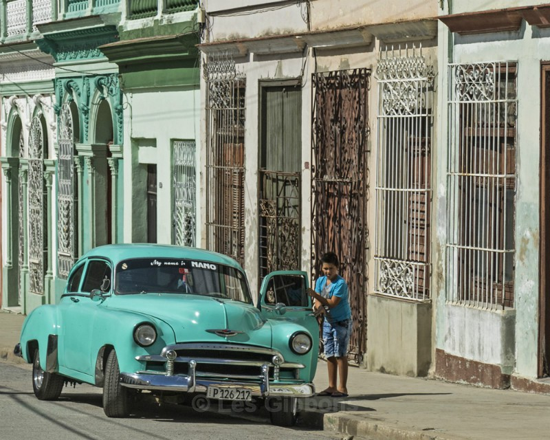 Boy and car - Cuba