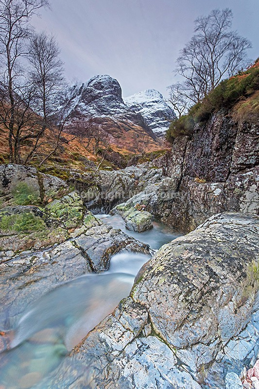 River Coe & two of The Three Sisters, Glen Coe, Highland - Portrait format
