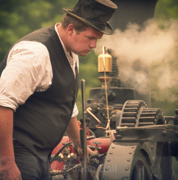 A Steam Enthusiast With His Engine At Innishannon Steam & Vintage Rally.