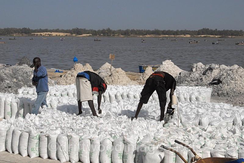 Senegal Lac Rose salt production 14 sewing bagsl - Salt Production in Senegal