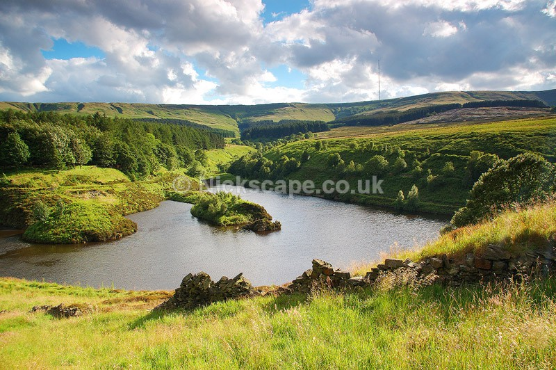 Ramsden Reservoir looking to Holme Moss - Yorkshire, UK - Yorkshire