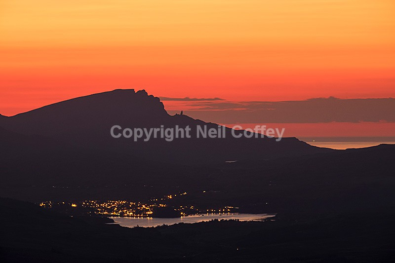 The Storr and Portree from Fionn Choire, Cuillin Hills, Isle of Skye - Landscape format