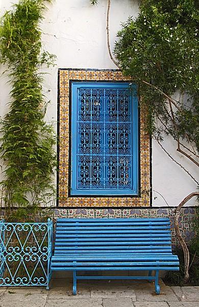 Sidi Bou Said -  bench - Tunis, Carthage and Sidu Bou Said