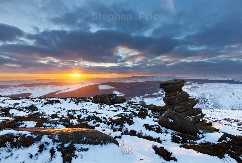 Salt Cellar Winter Snow Sunset | Peak District Winter Photography