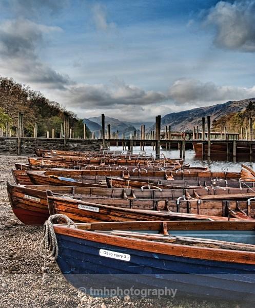 Blue Boat on Derwentwater. - Digital Photo's Enhanced
