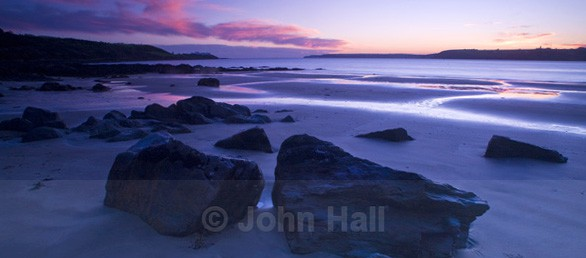 panoramic at twilight of roches point lighthouse cork harbour taken from white bay.