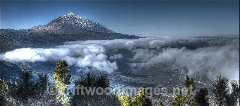 Tenerife mountain trees and cloud pan HDR reduced - High Dynamic Range pictures