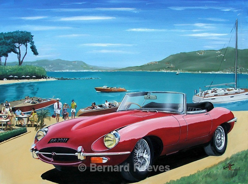 E-Type Jaguar on the French Riviera - Classic cars