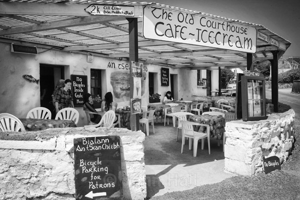 Fine Art Monochrome Of The Cafe At Inishmore, Aran Islands.