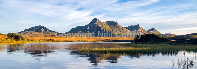 Ben Loyal across Lochan Hakel, Sutherland - Panoramic format