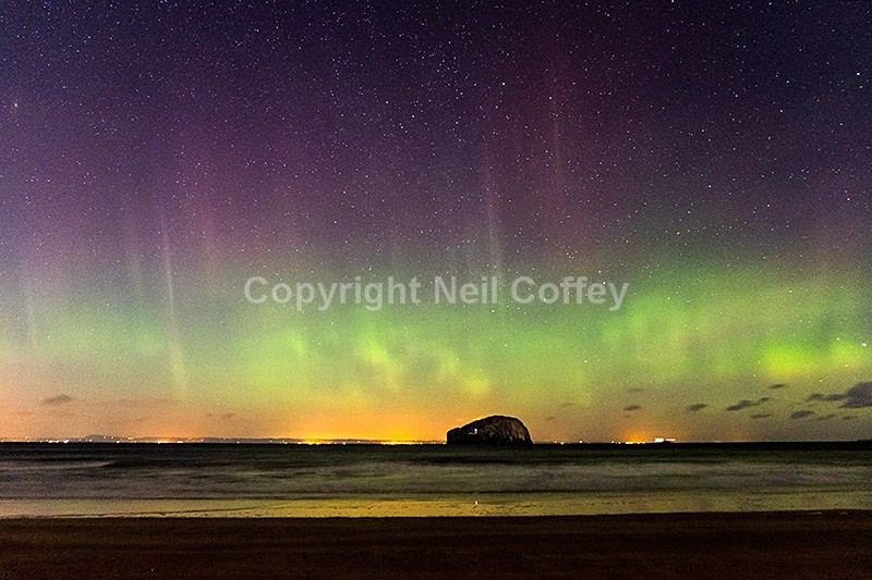 Aurora Borealis over Bass Rock from Seacliff Beach, East Lothian - Landscape format