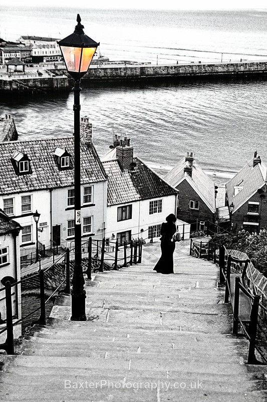 Counting The 199 Steps (Selective Colour) - Whitby
