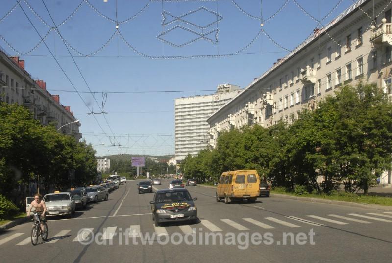 Murmansk street with traffic - Murmansk, Russia