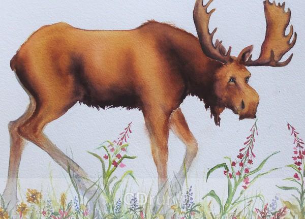 Moose in the Flower Garden - Watercolor
