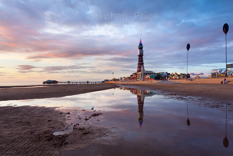 Reflections of Blackpool Tower | Beach Sunset