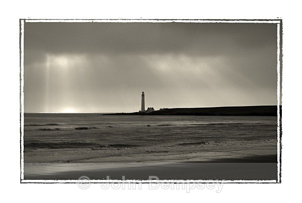 Lighthouse From Montrose Beach - B&W
