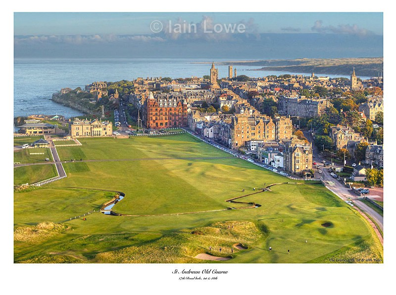 The Old Course Aerial Image, The Home Holes - 17th, 1st & 18th & Town - Scottish Links Aerial Images