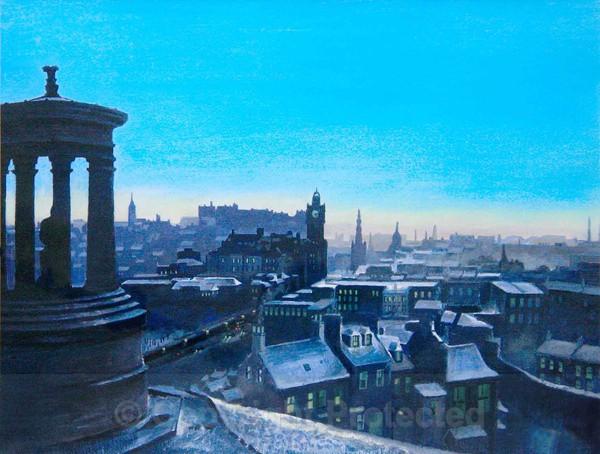 'Calton Hill in winter' - Edinburgh Paintings