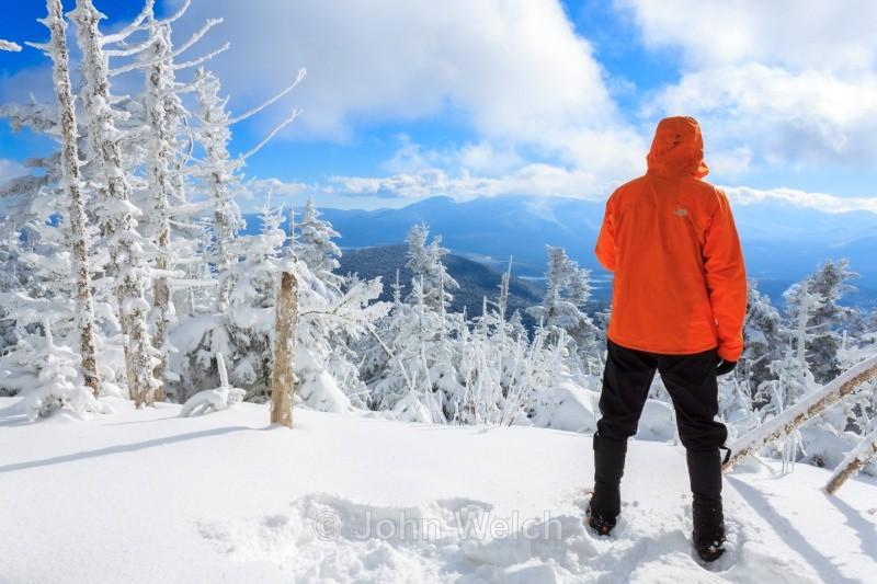 Winter Hiker at Waumbek View - Winter