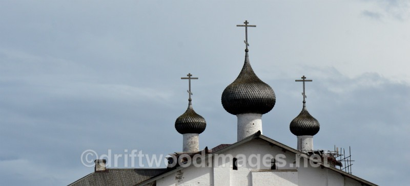 Solovetsky Islands Monastery three domes   - The Solovetsky Islands, Russia