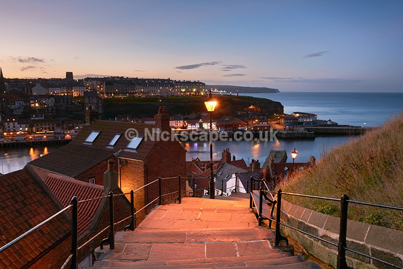 Whitby 199 Steps from Whitby Abbey at Night - Yorkshire Coast - Yorkshire