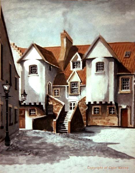 'White Horse Close, Edinburgh - in winter' - Edinburgh Paintings