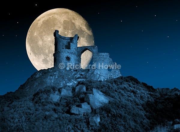 Moonlit Mow Cop Castle - The Potteries by Moonlight