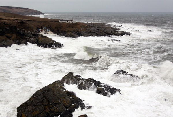 Rough Sea at Portlethen Bay. - Photographs of Old Portlethen.