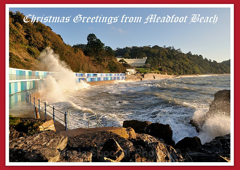 TQ103 - Xmas Card of Meadfoot Beach with rough seas - Greetings Cards Meadfoot Beach and Ansteys Cove Torquay