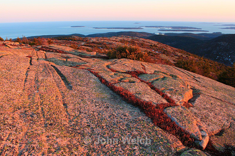 Glacial Striations at Sunset - Maine