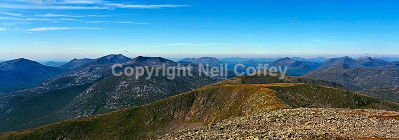 The Glencoe peaks and Glen Etive from Stob Ghabhar, Highland - Panoramic format