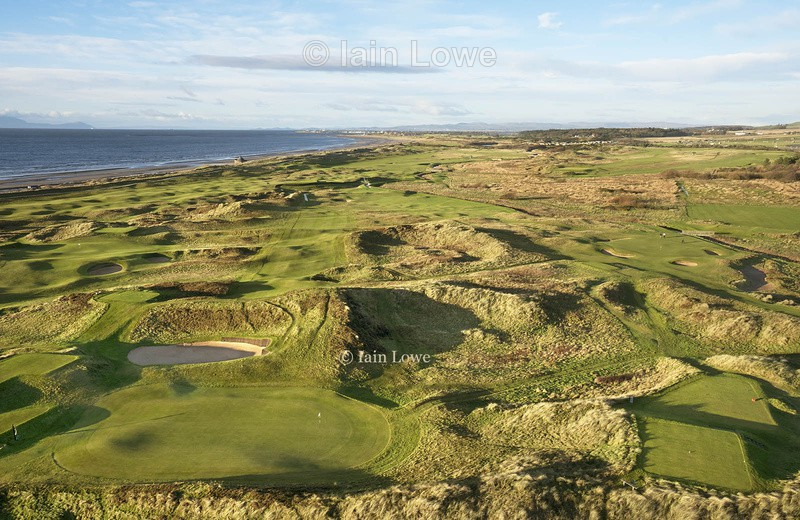 Aerial view, right to left - 2nd tee to green, 17th green to tee & - Prestwick Golf Links