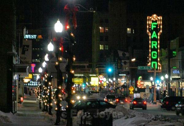 Broadway at Night - Fargo. North Dakota