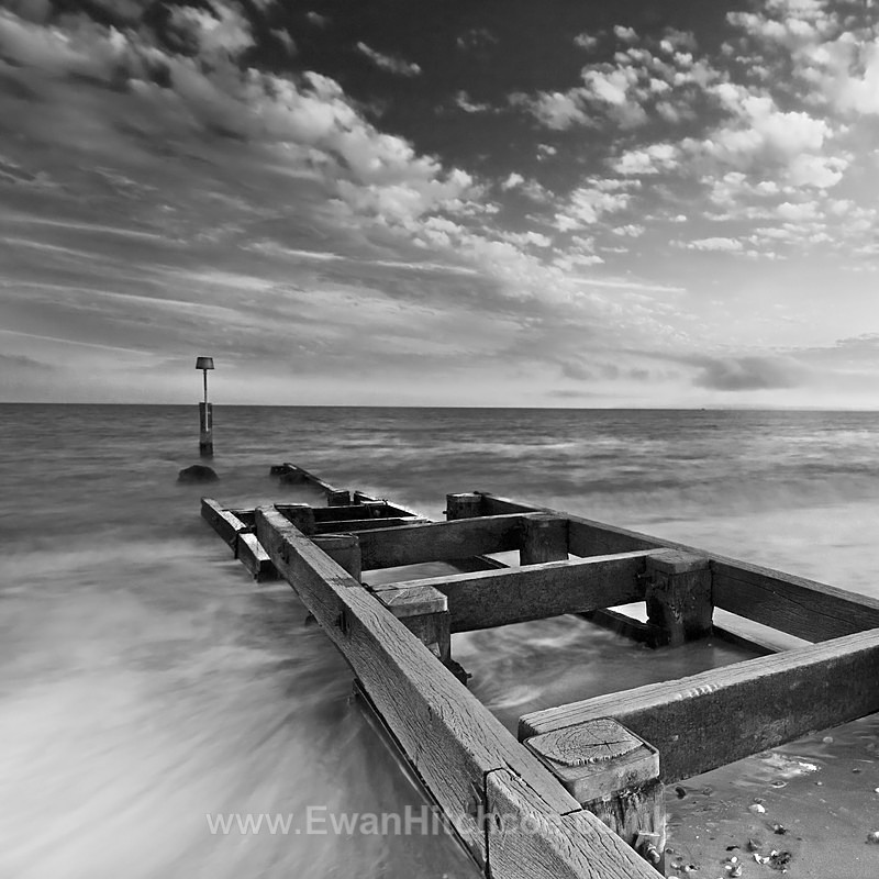 Southbourne Groyne 3 BW SQ - Black and White