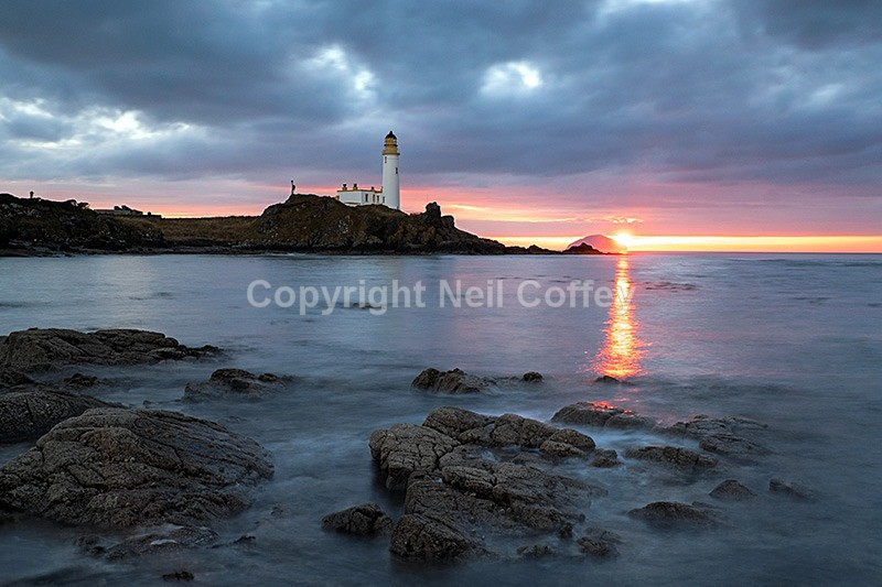 Turnberry Lighthouse and Ailsa Craig, South Ayrshire - Landscape format