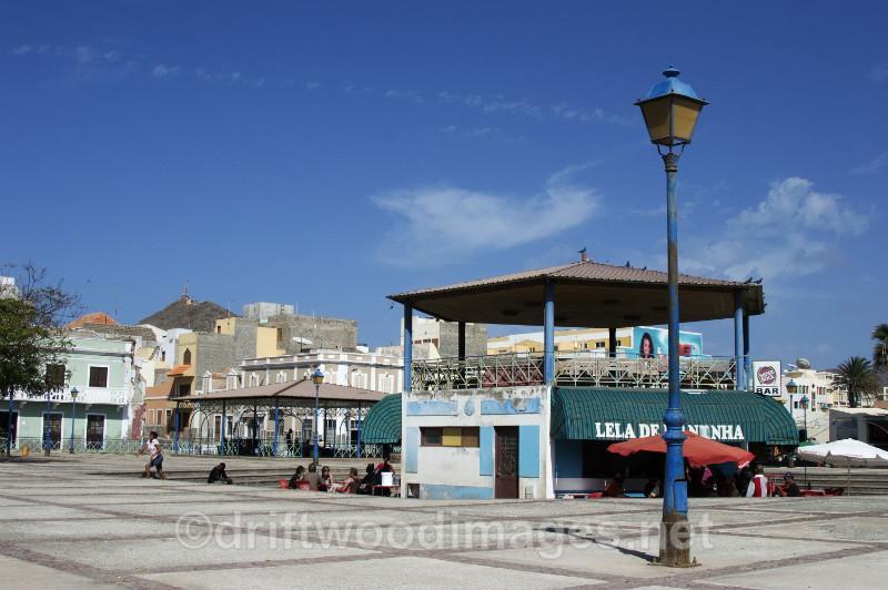 Cape Verde Islands square and lamp post - Cape Verde Islands