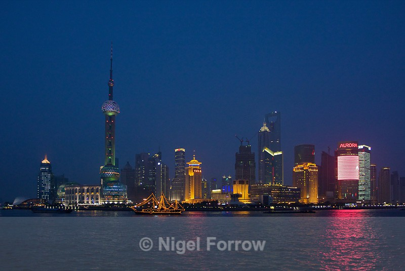 Pudong Skyline at Night from the Bund - China